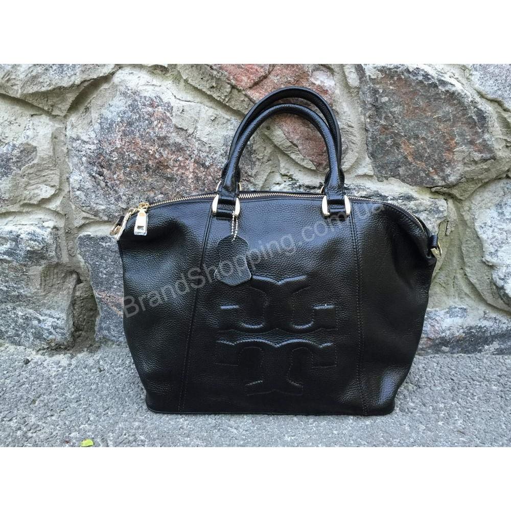 Эксклюзивная кожаная женская сумка TORY BURCH Lux чёрная 0735B